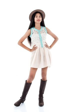 teenage girl dress: Portrait of Asian teenager fashion girl with long boots. Stock Photo