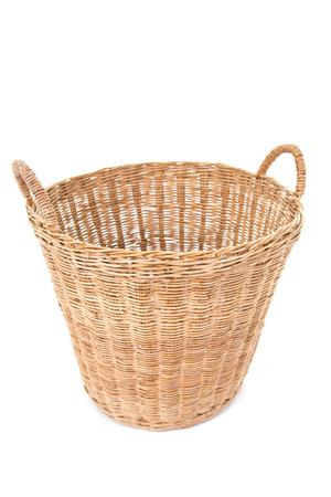 organized home: Empty basket on white. Stock Photo