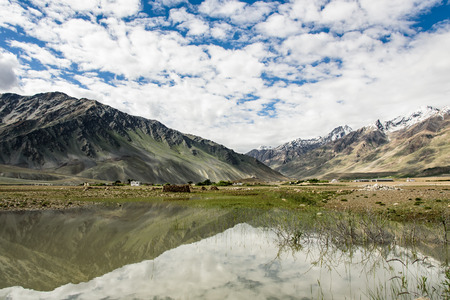 contryside: View of Zanskar Valley around Padum villange and great himalayan range- Ladakh, Jammu and Kashmir, India.