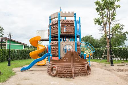 jungle gyms: children Stairs Slides equipment Stock Photo