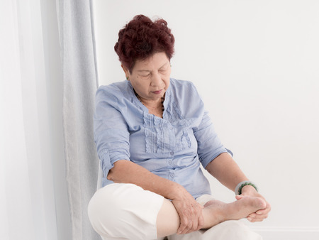 relaxation massage: Asian Senior woman relax at home. Stock Photo