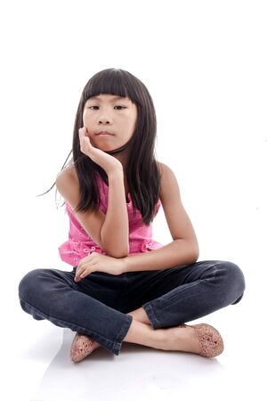 jeanswear: Portrait of Asian girl, isolated over white background. Stock Photo