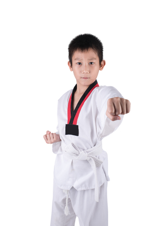 posting: Asian Taekwondo boy posting on white background with clipping path