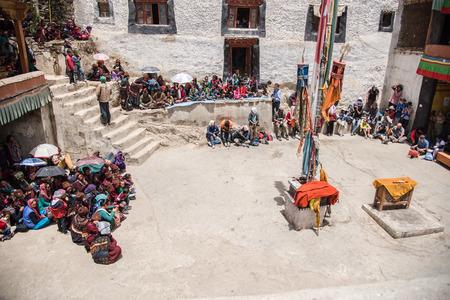 tantric: ZANSKAR, INDIA - JULY 15, 2015 : Untitled audiences waiting for mystical mask dancing at Karsha Monastery (one of the oldest monastery), Zanskar, North India