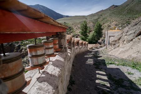 kashmir: Praying wheel in Tibetan Temple, Padum, Kashmir, India Stock Photo