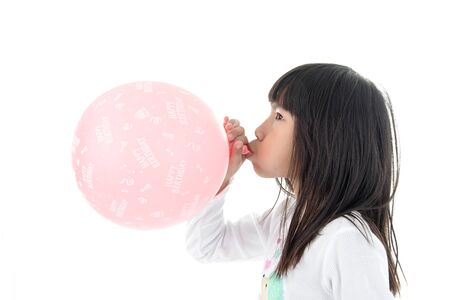 inflate: Little Girl inflate a Pink Balloon with Happy birthday