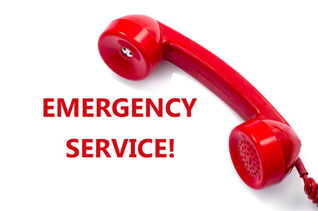emergency call: Old and dust red retro phone on white, Urgently emergency service concept.
