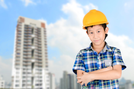 asian architect: Young Asian Architect with Building Background Stock Photo