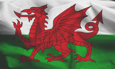 wales: Waving Fabric Flag of Wales, United Kingdom Stock Photo