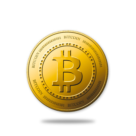 decentralized: Golden Bitcoin coin isolated on white with clipping path Stock Photo