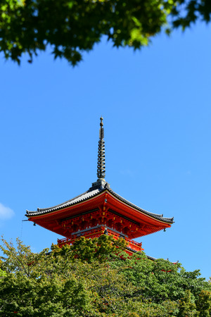 Kiyomizu-dera Temple in Kyoto, Japan, Pagoda with blue sky.
