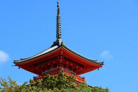 Kiyomizu-dera Temple in Kyoto, Japan, Pagoda with blue sky.