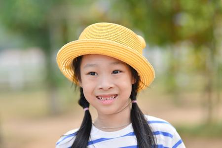 Closeup smiling little girl, Outdoor potrait Stock Photo