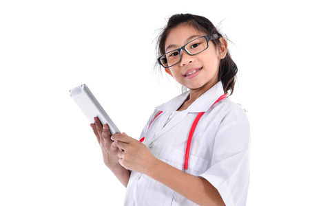 Young female doctor using tablet - isolated over a white background