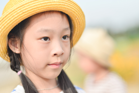 Closeup smiling little girl, Outdoor potrait photo