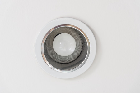 Dirty with dust LED light on ceiling with copyspace Stock Photo