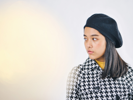 Portrait of Asian woman wearing winter jacket  winter lifestyle fashion. Copy space.