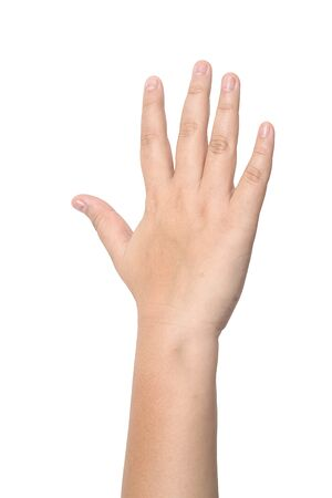 Child hand showing the five fingers isolated on a white background