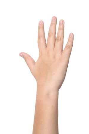 Kinderhand mit den fünf Fingern isoliert auf weißem Hintergrund