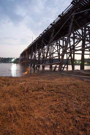 Wooden bridge at Sangklaburi photo