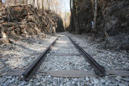 Railway Between cliff at hellfire pass memorial museum
