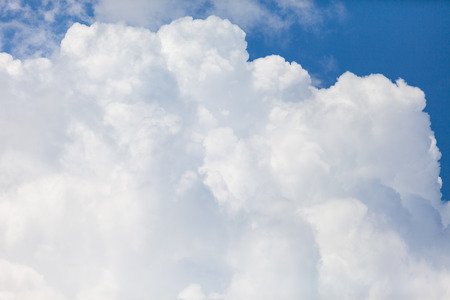 cumulus: close up of white fluffy cumulus cloud in the blue sky