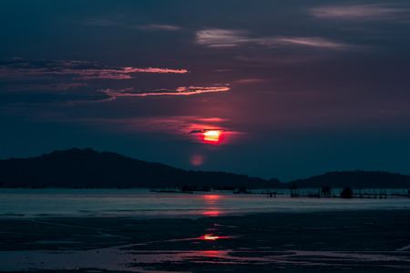 Sunset shining red, after the Islands District Yeo Songkhla. ????????????? ?????? ?????? ????? photo
