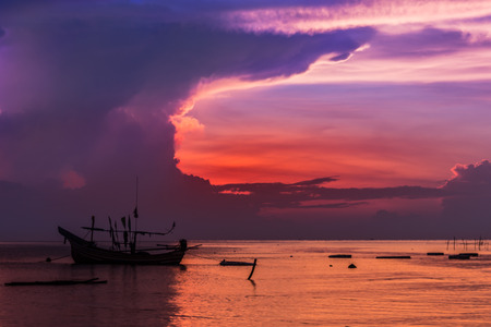 livelihoods: Sunrise Sea to Sky rainy and livelihoods of fishermen Thailand. Stock Photo