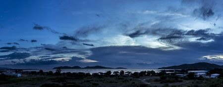 yo: Panoramic views of the lake water and Ko Yo district of Songkhla province.