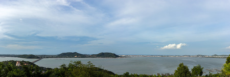 to curse: Bridge over the sea curse Songkhla panoramic views, municipal Songkhla and sea curse the Songkhla Stock Photo