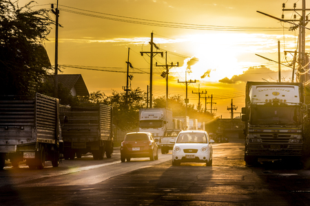 drive car: Mueang, Songkhla, Thailand ,2015-08-14 :People bring to drive a car. To return to the accommodation during sunset.