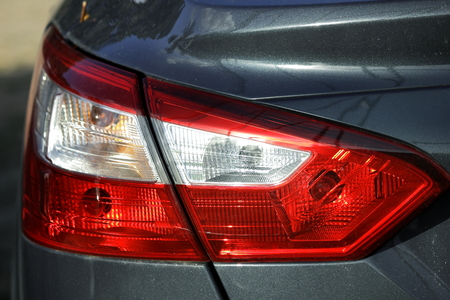 reversing: Taillights, brake lights, reversing lights equipped with light and red light . Stock Photo