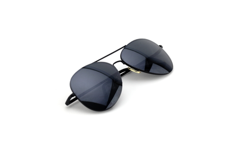 astigmatism: Black glasses for protection against UV radiation from the Sun and the Sun Stock Photo