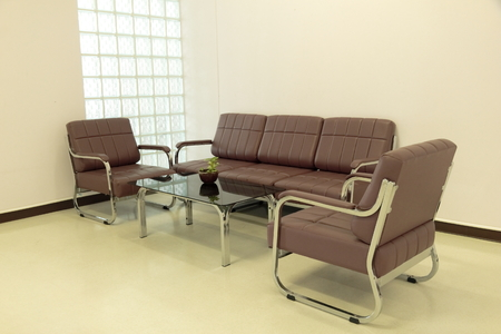 commodious: Brown sofa with table and Chair set