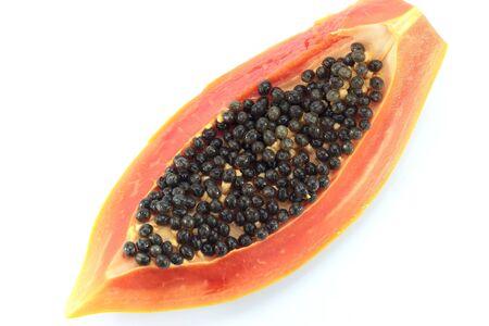 close up papaya fruits on whith backgroud