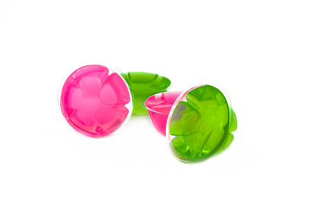 Jelly Pink and Green on white background Stock Photo