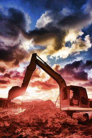 building lot: Excavator operator downtime waiting sunset