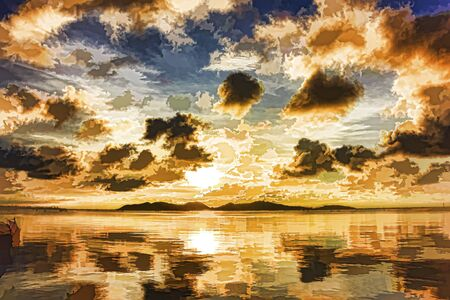 paintings: Landscape and sunset paintings songkhla lake