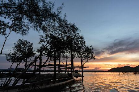 livelihoods: Livelihoods of fishermen and fishing equipment and sunse Stock Photo