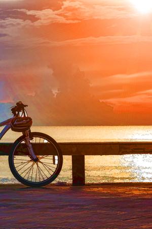 bicycler: Bicycle illustration and Sunrise and sunset Stock Photo