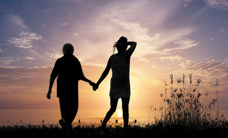 Illustration of mother and daughter walking on sunrise and sunset