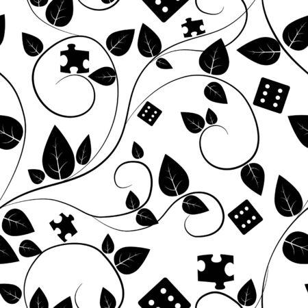 tessera: black and white tree seamless pattern