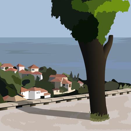 hamlet: The town of Balchik on the Black sea coast, Bulgaria.