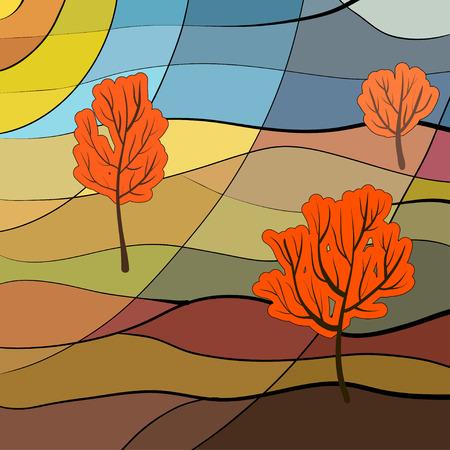 vetrate artistiche: Paesaggio autunnale in stile vetrata