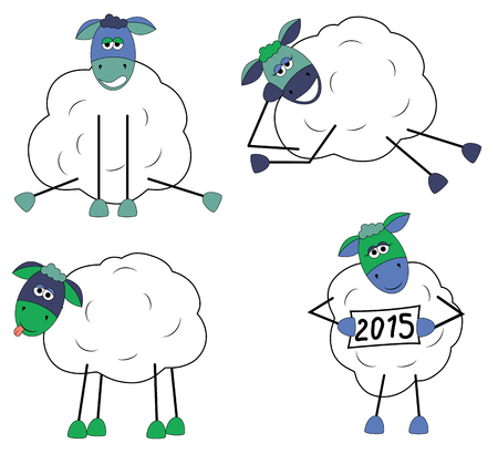 tease: Set of funny sheep on white background