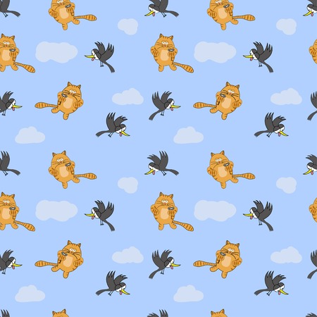 Seamless pattern with cat, mouse and crow on blue background