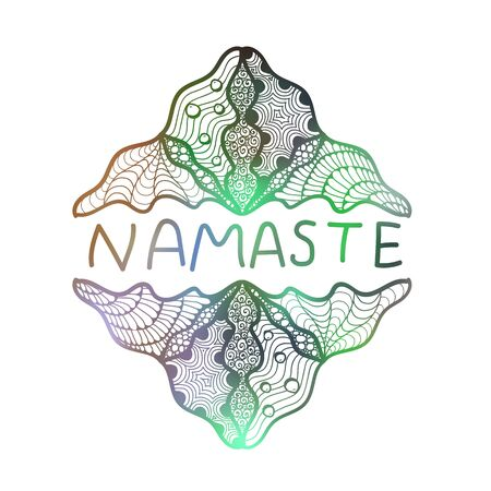 namaste: Hand drawn zentangle logo on blurred background. Namaste. Suitable for ethnic shops, yoga studios, travel agencies, ads, signboards, identity designs
