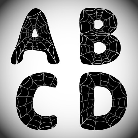 Halloween Alphabet. Black Letters N, O, P, Q With Spider Web ...