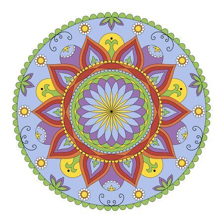 Elementi decorativi d'epoca. mandala colorato isolato su sfondo bianco Archivio Fotografico - 55144983