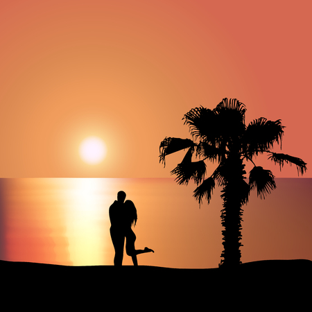 sunset beach: Man embraces woman on the seashore at sunset